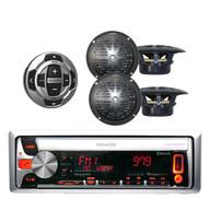 KMRD558 Kenwood Marine CD/MP3 iPod iPhone Receiver + KCARC35MR Remote 4 Speakers