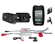 Bike Boat Marine Grade iPod MP3 Input 2 Channel Amplifier, 2 Black Box Speakers
