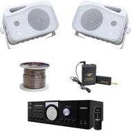 """5"""" 3Way Mini Box Speakers, PA Mono Amplifier, Speaker Wire, Lavalier Mic Set"""