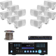 """PLMR24 Box 3.5"""" Speakers, Speaker Selector, Wires, PD1000A USB DVD Mp3 Receiver"""