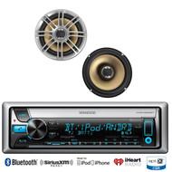 "2 Polk Marine 6.5"" 330W Speakers, Kenwood Marine Bluetooth iPod USB CD Receiver"