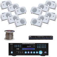 "5"" Marine Box 500W Speakers,Pyle DVD USB Receiver, Speaker Selector,Speaker Wire"