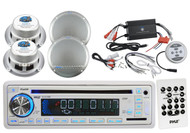 "5.25"" Marine Speakers, Pyle Marine CD USB  SD Radio, 1200W Bluetooth Amplifier"