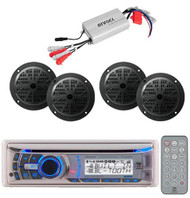 Dual Boat Marine Detachable Face CD MP3 USB Receiver/800W Amp +4 Black Speakers
