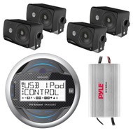 "MGH20 Dual Marine Boat Digital 4"" Round IPX6 Radio USB iPod iPhone Stereo Receiver, Pyle PLMR24B 3.5'' 200 Watt 3-Way Weather Proof Mini Box Speaker System (Black), PLMRMP3A Pyle 4 Channel Waterproof MP3/ Ipod Marine Power Amplifier (White)"