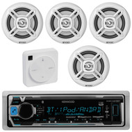 """Package Bundle Kit Includes: 1 Kenwood KMR-M318BT Bluetooth Stereo USB/AUX Receiver Unit + 4x (2 Pairs) of Enrock EKMR1672B 6-1/2"""" Inch White Marine Speakers + 1 Dual XGPS10M Boat Bluetooth Wireless GPS Receiver"""