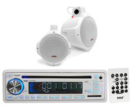 "PLCD35MR Marine AUX USB CD AM FM Radio, 2 White 8"" Wake Board Marine Speaker Set"