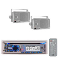 AMB600W Boat Marine Waterproof CD MP3 USB Stereo System + 2 Silver Box Speakers