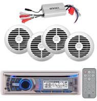 240 Watt Dual Marine CD MP3 AUX Radio Player W/4 Enrock Speakers + 800 Watt Amp