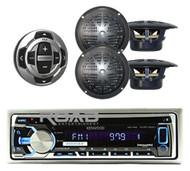 New KMR-D368 Marine CD Radio USB MP3 iPod iPhone  Receiver Remote 2 Speakers Pkg