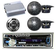 KMR-D368 Marine CD USB MP3 iPod iPhone Smartphone Stereo + 4 Black Speakers& Amp
