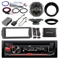 "98-2013 Harley JVC CD Adapter DIN Kit, Kicker 6.5"" Speaker Set, Amplifier Set"