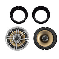 "Pair Polk Audio DB651 6.5"" 2- Way Marine ATV Outdoor Coaxial Car Audio Stereo Speakers Silver, Mounting Ring for 6.5"" Speaker Fits all Harley touring from 1998-2013"