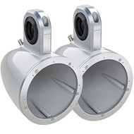 """Pair Of Kicker 12KMTESW 6 1/2"""" Wakeboard Tower Enclosures For 6"""" And 6.5"""" Inch Marine Speakers - White"""