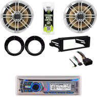 "Bluetooth Marine CD Radio, FLHT Harley Dash Install Kit, 6.5"" Speakers/ Adapters"