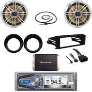 Dual Bluetooth Stereo,98-2013 Harley Dash Kit,Antenna,300W Amp,Speakers/Adapters