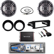 "Bluetooth CD Stereo- FLHT Harley DASH Kit, 6.5"" Speaker Set, Antenna, 300W Amp"