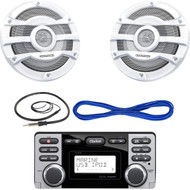"Clarion CMD8 1.8-Inch Marine CD-USB-MP3 Receiver, Kenwood KFC-2053MRW 8"" 2 Way Marine Speakers Pair 300w Max White KFC2053MRW, 14 Gauge 50 Foot Marine Speaker Wire , EKMR1 Enrock Marine Wire Antenna (Black)"