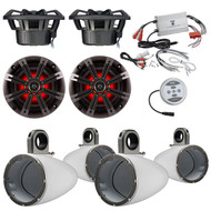 "Marine Speaker Package With Amp: 2 Pairs (Total of 4) Kicker 41KM84LCW 8"" Coaxial Marine Boat LED Light Speaker Bundle Combo With 4x Kicker 8"" Inch White Wakeboard Tower Enclosures +1200 Watt Bluetooth 2-Channel Amplifier"