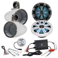 "KM8 8-Inch Marine LED Coaxial Speakers, Charcoal and White Grilles, Kicker KMTESW 8"" Marine Speaker Enclosures - (White), Pyle PLMRMBT5B 600 Watt Amp Bluetooth 2-Channel Amplifier"