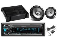 "400W Amplifier,Kenwood Bluetooth iPod AUX USB Car Radio, 2 Kenwood 6.5"" Speakers"