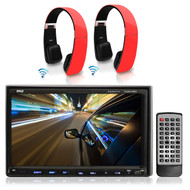 """Double Din 7"""" Pyle iPod AM FM CD DVD  Receiver, 2 Red Wirless Sound6 Headphones"""