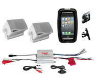 New Boat Bike ATV Outdoor Marine iPod Input Amplifier, 2 Box Speakers,Phone Case
