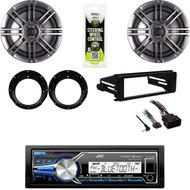"USB AUX Stereo, FLHT Harley Dash Installation Kit, 6.5"" Polk Speakers, Adapters"