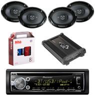 """1 X In Dash Pionner DEHS6000BS In Dash Receiver, 2 X Pair Kenwood KFC6966S  6X9"""" Speaker, 1 X Lanzar HTG447 4 Ch Amp"""