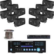 "Black 200W 3.5"" Speakers, Pyle DVD USB Receiver, Speaker Wire , Speaker Selector"