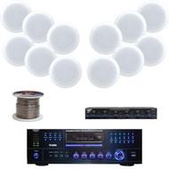"8"" 250W In-Ceiling Speakers, USB DVD AM FM Receiver, Speaker Selector/ Wiring"