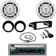 "Kenwood Bluetooth CD Radio, FLHX Harley DIN Kit, 6.5""Speakers, Adapters, Antenna"