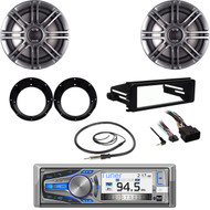 "AM615BT Stereo- Harley FLHTCH Install Dash Kit, 6.5"" Speakers, Adapters, Antenna"