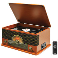 New Pyle PTCD56UBWD Vintage Retro Classic Style Bluetooth Turntable System with Vinyl/MP3 Recording