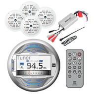 "Antenna,4""White Boat Speakers,800W Amplifier&Marine USB iPod AUX Bluetooth Radio"