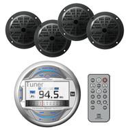 """3""""LCD Display USB Bluetooth Pandora iPod Marine Radio&4 Black 4"""" Marine Speakers"""