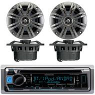 "Kenwood KMR-D368BT Marine Boat Yacht CD MP3 Bluetooth Stereo AM/FM iPod iPhone Radio Player, Pair of Kicker 41KM652C 6.5"" 2-Ohm Marine Speakers"