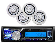 "Marine JVC Bluetooth iPod USB AUX Pandora Radio,Boat Kenwood 6.5"" White Speakers"