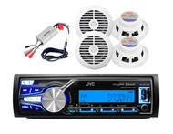 KDX31MBS Marine Car Radio Bluetooth AUX USB Stereo, 4 White Speakers,Amp,Antenna