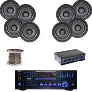 """Pyle 3000W DVD USB Amplifier, 5.25"""" In-Ceiling Speakers, Wires, Speaker Selector"""