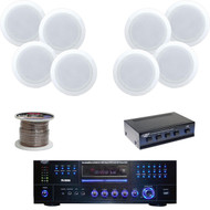 "8"" 2-Way In-Ceiling Speaker Set, DVD AM/FM Receiver, Speaker Selector, Wiring"