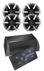 "Kicker Bluetooth USB 2 Channel Portable Amplifier, 6.5"" Marine Polk Speaker Set"