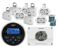"""Marine 1600W Amplifier, 6x9"""" 4Way Wakeboard Speakers w/Wires, MS30 USB AUX Radio"""