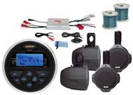 "4Channel Marine Amplifier,8""Black Wakeboard Speakers&Wires,MS30 Marine USB Radio"
