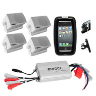 Bike Boat ATV Marine Grade Amplifier w/iPod Input, 4 Box Speakers, Phone Holder