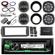 CD 98-2013 Bluetooth Harley FLHTC Adapter DIN Kit, Amp Set, Kicker Speaker Set