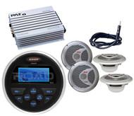 """Jensen Marine AUX USB Round Radio, 4 Silver 6.5"""" Speakers,400W Amplifier,Antenna"""