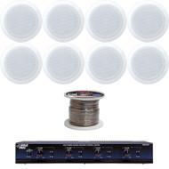 """In-Ceiling 5.25"""" 150W White Speakers, Speaker Wire, 4-Channel Speaker Selector"""