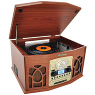 Pyle PTCDS7UBTBW Bluetooth Turntable System, Retro Vintage Classic Style Vinyl Record Player with Vinyl-to-MP3 Recording, CD Player (Wood)