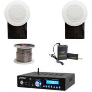 """Flush Mount 5"""" Speakers, Bluetooth PA Amplifier, Speaker Wire, Lavalier Mic Set"""